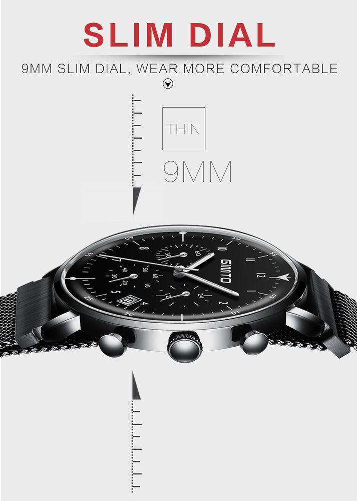 GIMTO Brand Sport Men Watches Quartz Steel Clock Chronograph Wristwatch Waterproof Fashion Casual