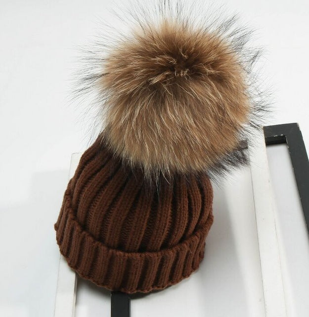 Detachable Real Fur Pom pom Knitted Beanies