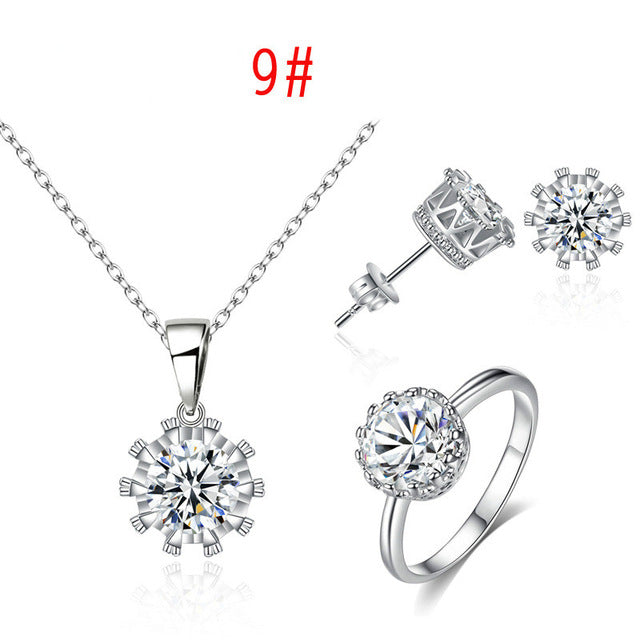 Crown Eight Arrow Crystal Stud Earrings Necklace Elegant Wedding Jewelry Sets ZK50 MM020424