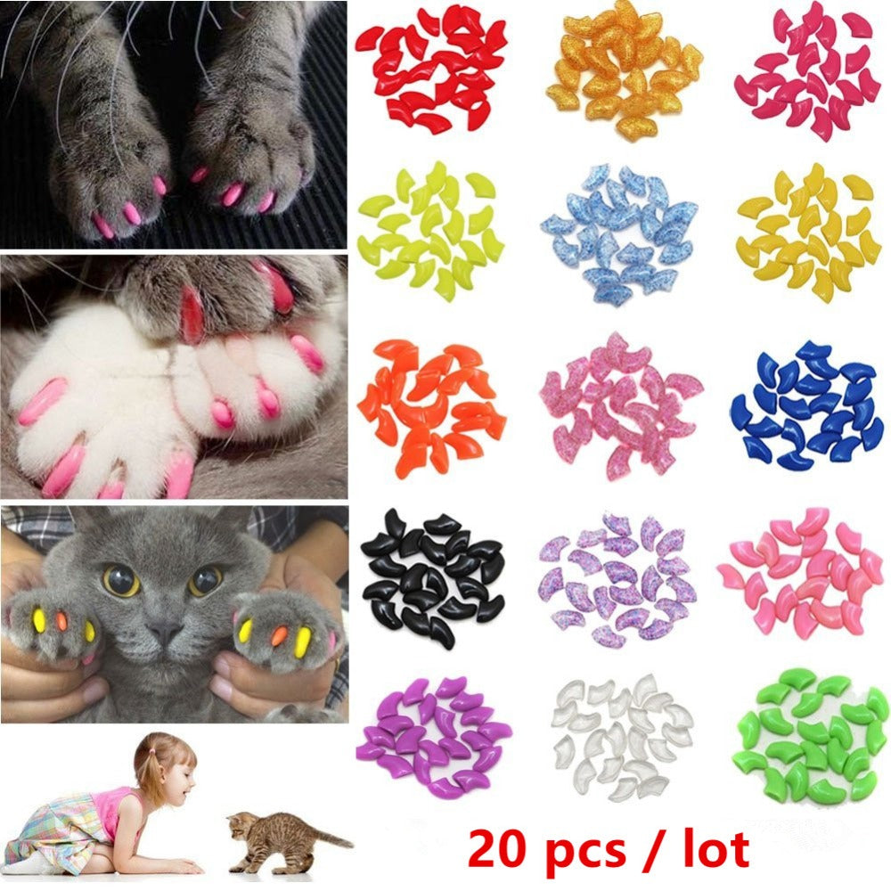 Nicrew 20 pcs Soft Silicone Soft Cat Nail Caps Colorful Cat Paw Claw Pet Nail Protector Cat Nail Cover Cat Grooming Supplies