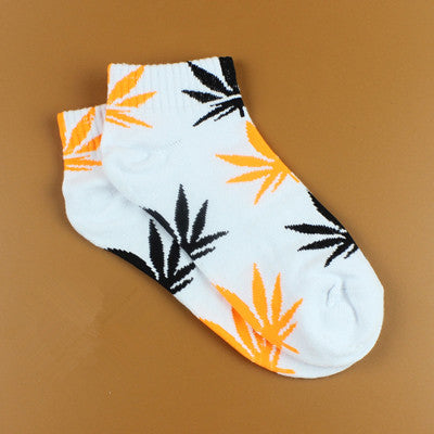 Women's Cotton Harajuku Skateboard Maple Leaf Socks