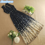 Floral Print Chiffon Summer Long Dress Women Beach  Maxi  Kimono   Bohemian Sleeveless Dresses Elegant Party Dresses