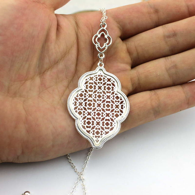 Women's Designer Filigree Heart Long Necklace Pendants