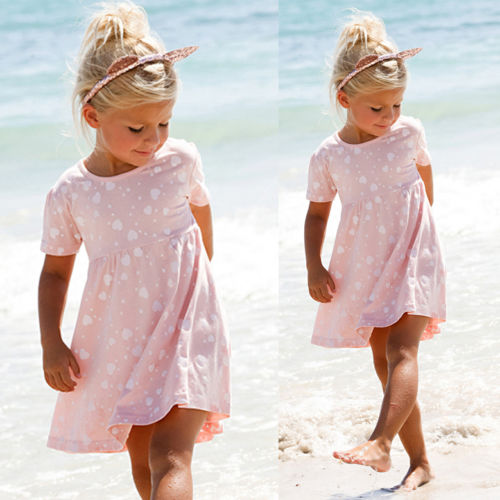 BNWT Toddler Kids Girls Summer Dress Princess Short Sleeve Floral Casual Beach Mini Dresses