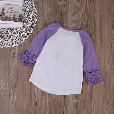 Kids Toddler Newborn Baby Girls Cotton Ruffles Long Sleeve Printed Blouse Shirts Top Cute Summer Outfit Sunsuit Sunset
