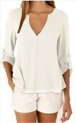 Women Plus Big Size S-5XL Casual Chiffon Blouse Tops Female Summer White Solid 3/4 Sleeve V-Neck Elegant Tee Shirts