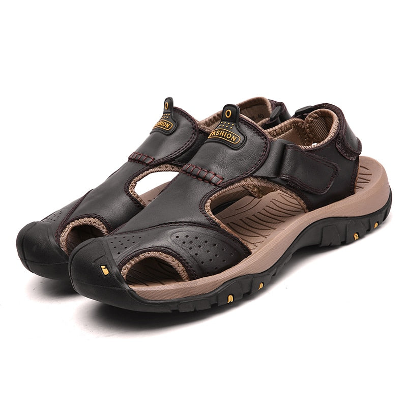 Men's Genuine Split Leather Roman Style Sandals
