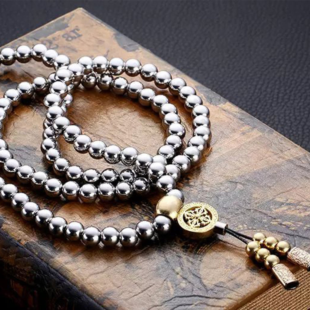 Stainless Steel Buddha Beads Necklace / Bracelet