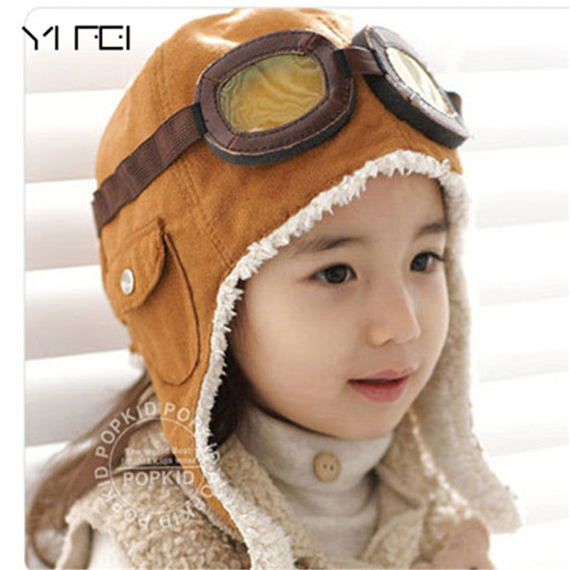 YIFEI Boys Flight Caps Winter Baby Hat Kids Warmer Earflap Beanie Christmas Gift Wool Baby Winter Hats Children Pilot Hat Caps