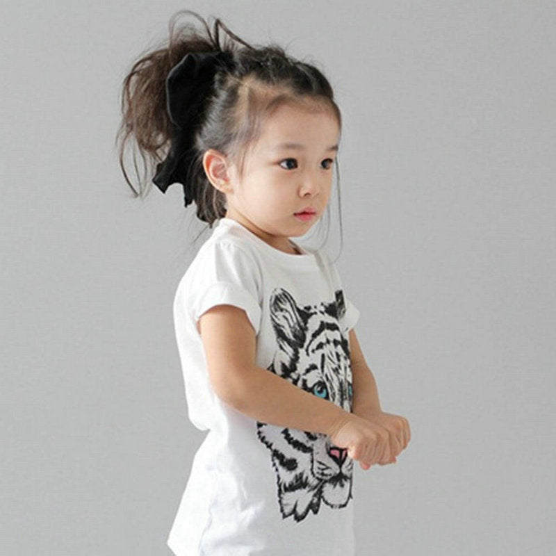 Girls' Tiger Printed Casual T-Shirt Cotton Blouse