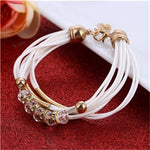 Women's Fashion Leather Bead Charmed Bracelet