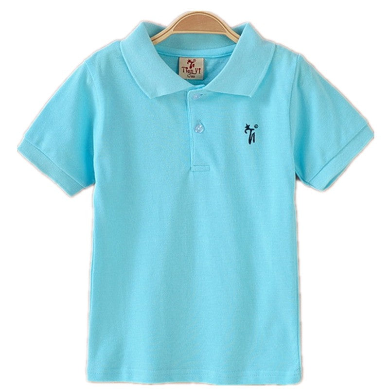 All-Match Unisex Boy Polo shirts for Kids Summer Toddler Big Boy Tops Girls T shirt Cotton White Blue shirts