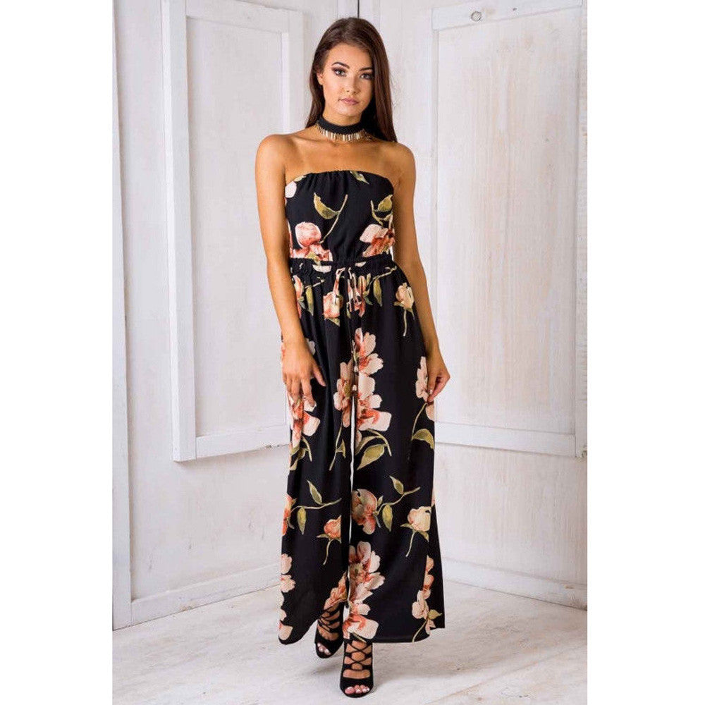 JAYCOSIN Jumpsuits New Women Jumpsuit Sleeveless Women Off Shoulder Floral Playsuit Ladies Trouser
