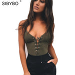 Sibybo   Lace Up Bodysuit Women Summer Backless Deep V Neck Slim Playsuit Bodycon Rompers Womens Jumpsuit Overalls Tops
