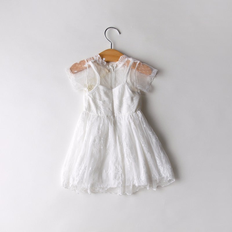 Girl's Short Sleeve Lace Children Clothing O-neck Solid Embellished Floral Lace Lolita Style Kids Dress