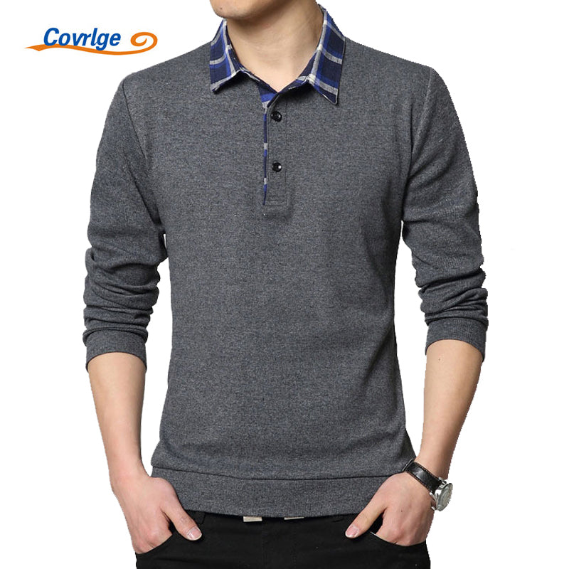 Covrlge Polo Homme Spring New Men's Tee Shirts Fashion Patchwork Plus Size 4XL 5XL Long Sleeve Polo Shirt Slim Fit