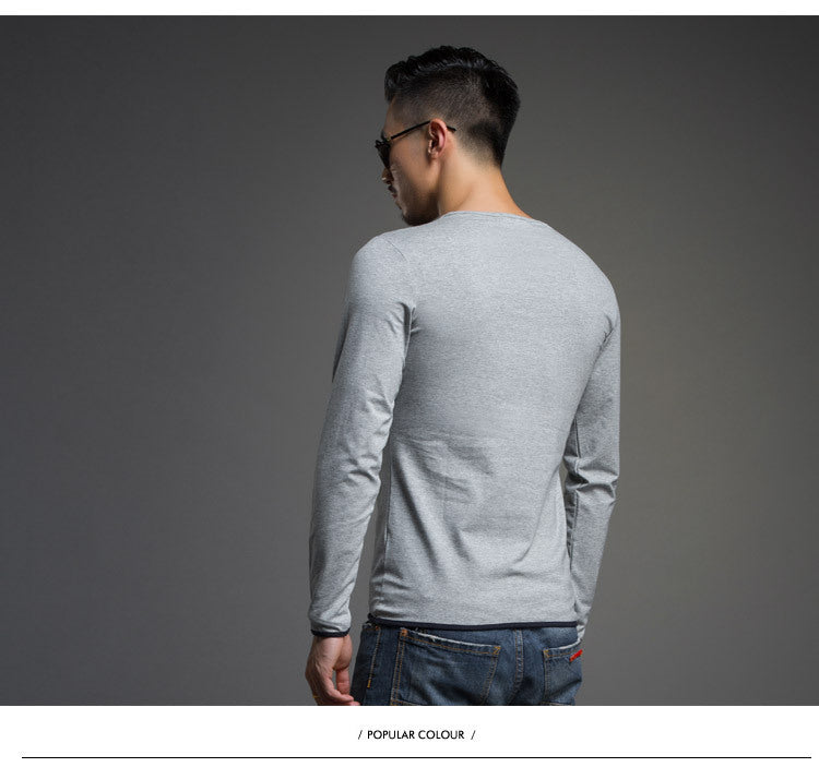 l Autumn men's fashion Pure cotton solid Color polo shirt Long-sleeve  men's casual tops clothing 3386
