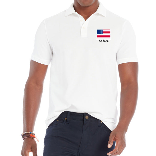 Men's Short Sleeve USA Polo Shirt