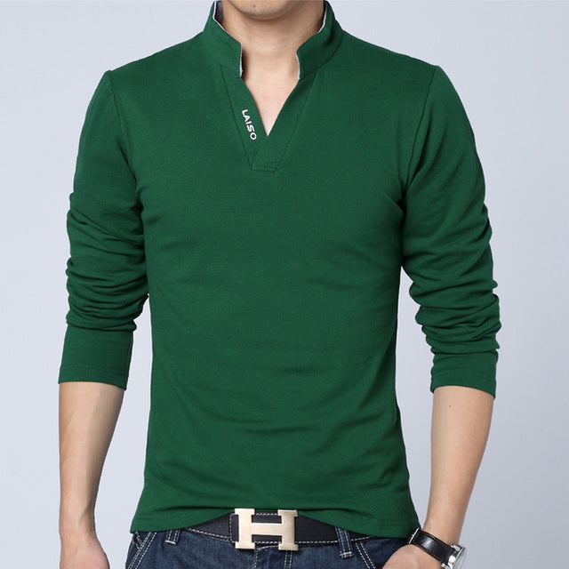 Men Fashion Boutique Cotton Leisure Stand Collar Long Sleeve POLO Shirts Mens Pure Color V-neck POLO Shirt Big Size S-5XL