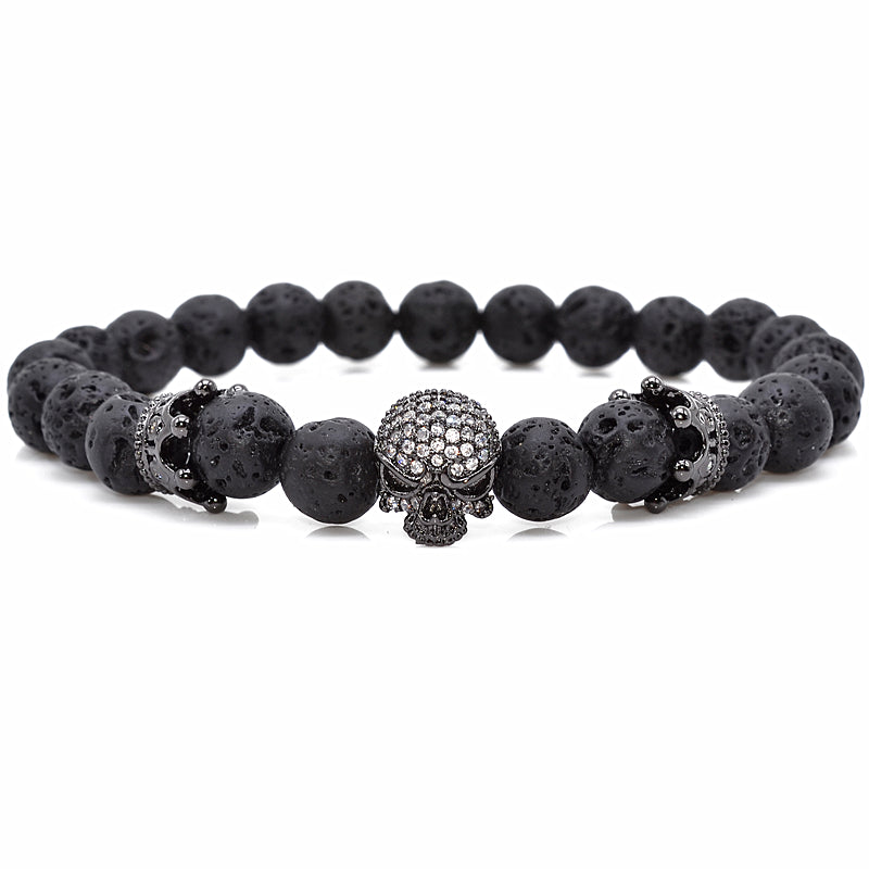 Brand Trendy Natural Beads Strand Bracelet Micro Pave CZ Skeleton Skull Black Lava Rock Stone Energy Men European Buddha Jewelry