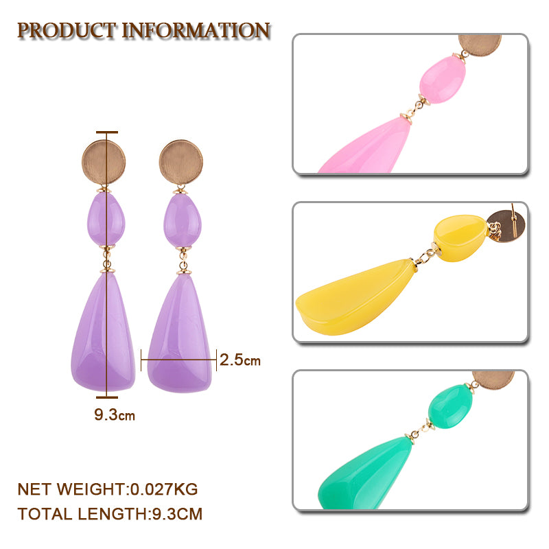 Best lady Resin Pendant Dangle Earrings Wedding Fashion Bohemian Women Drop Earrings Charm Trendy Jewelry