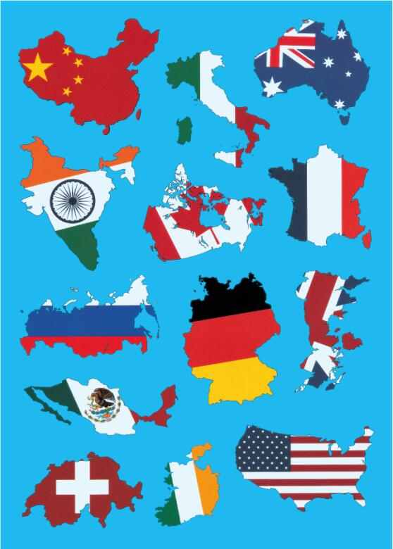 World Map Flag On PVC Waterproof Laptop Tablet Skin Sticker For Macbook Pro Notebook Decal Sticker