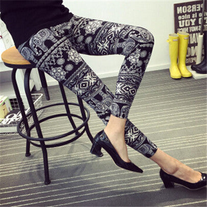 New Design Women Pants Pencil Deporte Leggins Flower Printing Painted Knitted Workout Casual Sexy Clothe Trousers K092