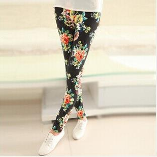 New Design Women Pants Pencil Deporte Leggins Flower Printing Painted Knitted Workout Casual   Clothe Trousers K092