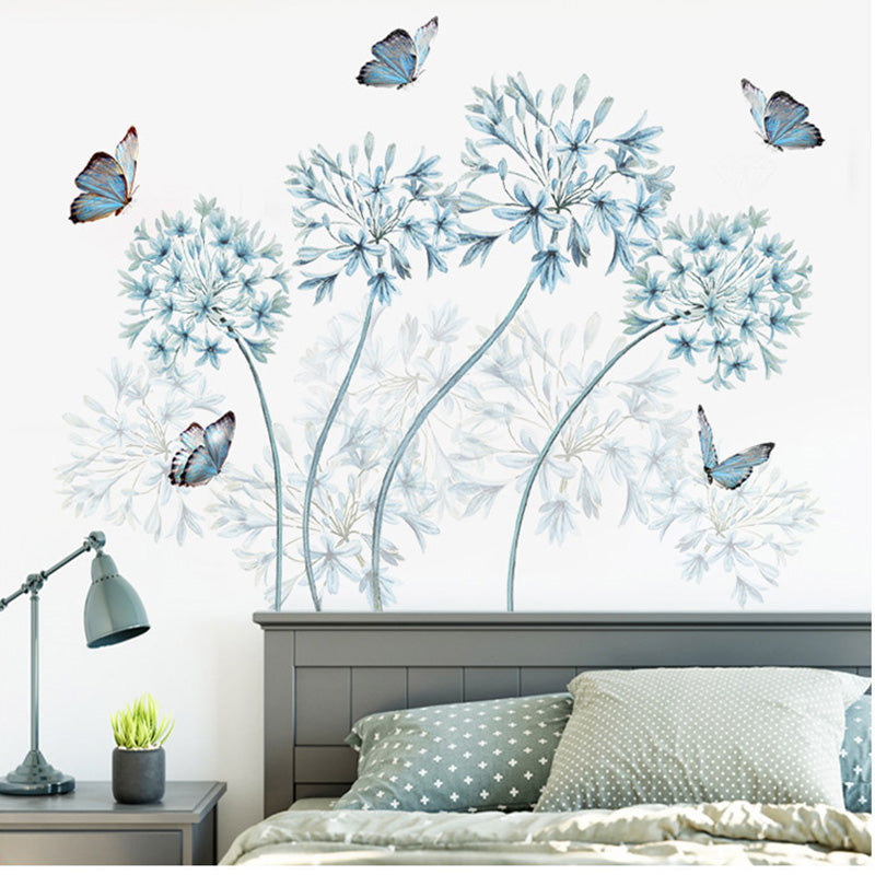 Blue Flowers Butterfly Wall Stickers Home Decor Headboard Wall Board M