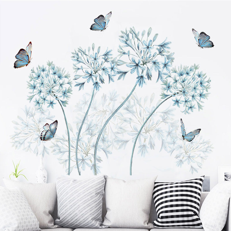 Blue Flowers Butterfly Wall Stickers Home Decor Headboard Wall Board Mural Poster Background Wallpaper Decorative Art Decals