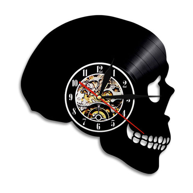 Hand Carved Skull Vinyl Record Wall Clock