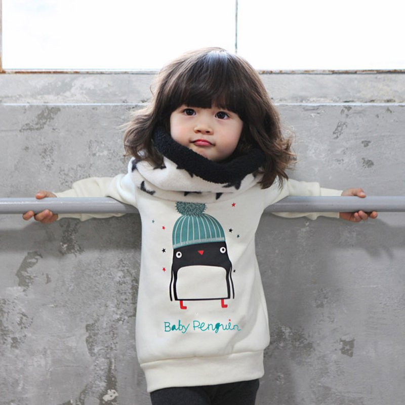 Kids Clothes Autumn Baby Girl Cute Long Sleeve Pullover Winter Warm Penguin Pattern Girls Thicken Sweatshirt Hoodies 0-3Y