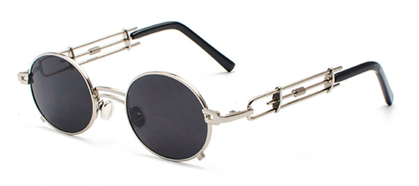 Peekaboo retro steampunk sunglasses men round vintage summer metal ...