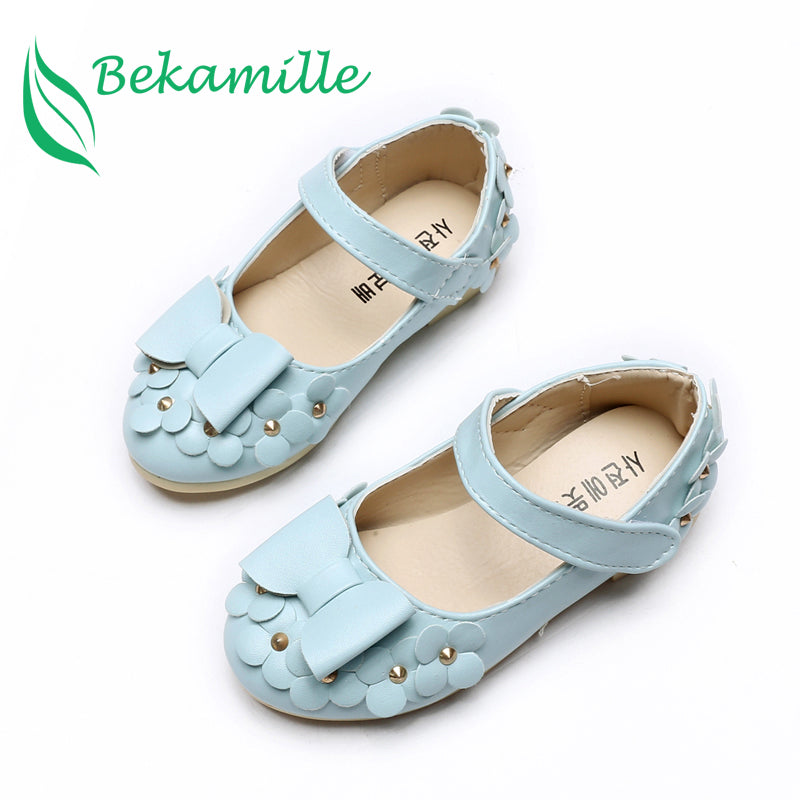 Children Shoes Girls Sandals Summer Autumn Cut Bow Princess leather shoes Flowers Chaussure Fille Rivets Girls Shoes Sneakers
