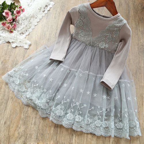 New Lace Flower Princess Dress Spring Girl Dress Winter Long Sleeve Three-Dimensional Petals Pompon Net Yarn Girls Clothes
