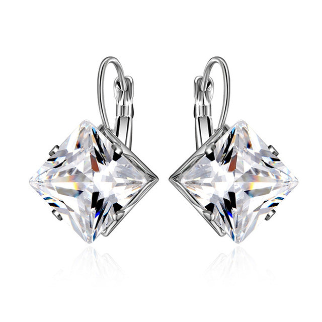 OBSEDE Fashion New Oval Cubic Zircon Earrings White Austrian Stone Crystal Drop Earring for Women Female Silver Jewelry