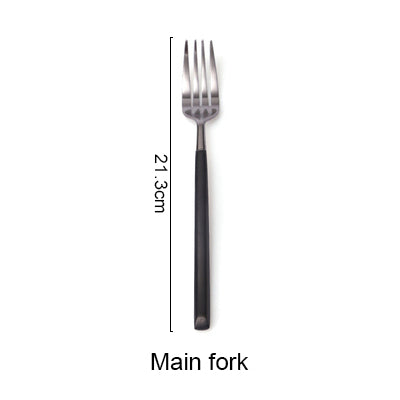 Stainless Steel Cutlery Black Handle Electroplate Dinnerware Set Steak Knife Fork Dessert