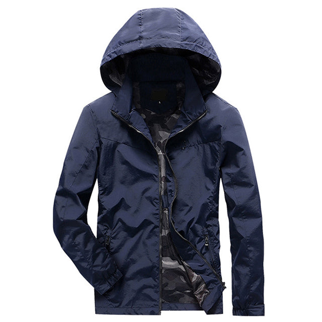 Plus Size M-4XL Mens Hooded Jacket Autumn Casual Solid Color Slim Fit Mesh Lining Thin Brand Windbreaker Coat