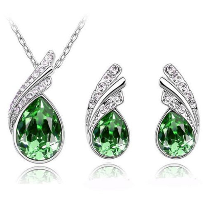 Austrian Crystal Feather Water Drop Jewelry Set
