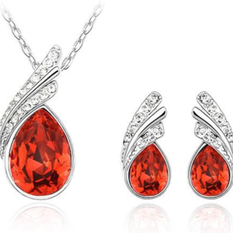 bridal Jewelry set  Austrian Crystal fashion leaf tear feather Water drop pendant necklace earrings jewelry sets