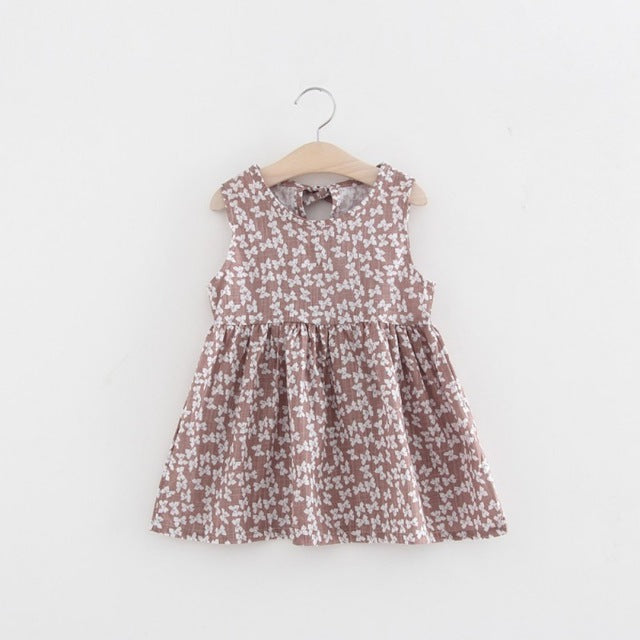 Baby Girls Summer dresses Sleeveless Floral Printed Party Dress Princess A-line Dress Girls Vestido