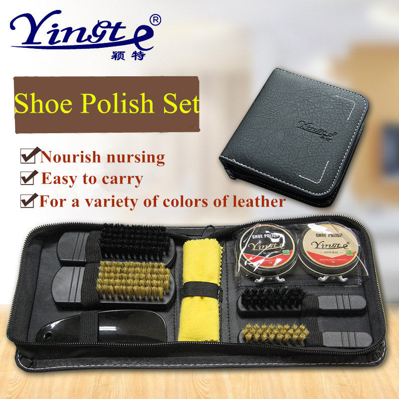 9 Pcs/set Professional Shoe Care Tool Brush Shoe-Polish Shoehorn Practical Shine Polish Cleaning Set PU Leather Shoes Cleaner