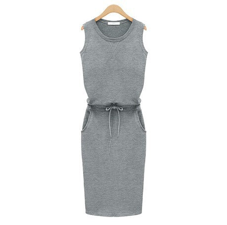 Summer Women Dress Fashion Solid Cotton Slim Fit Pockets Pencil Dresses Work Sleeveless Sexy Casual Dress Robe Femme