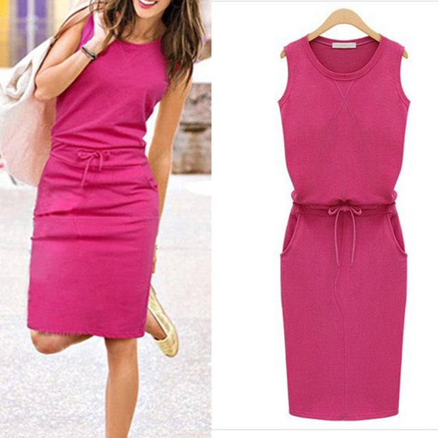 Summer Women Dress Fashion Solid Cotton Slim Fit Pockets Pencil Dresses Work Sleeveless   Casual Dress Robe Femme
