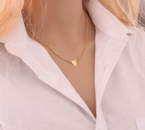 Fashion Gold Color 3 Layer Chain Necklace Hollow Out Triangle Long Pendant