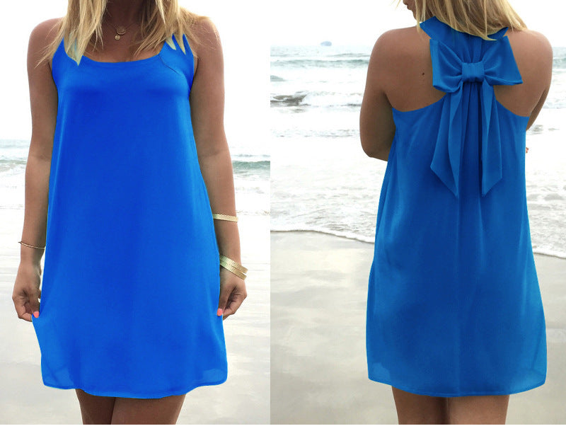 Summer Dress Women Dress Female Summer Style Bow Vestido De Festa Sundress Plus Size Women Clothing Beach Dress Chiffon