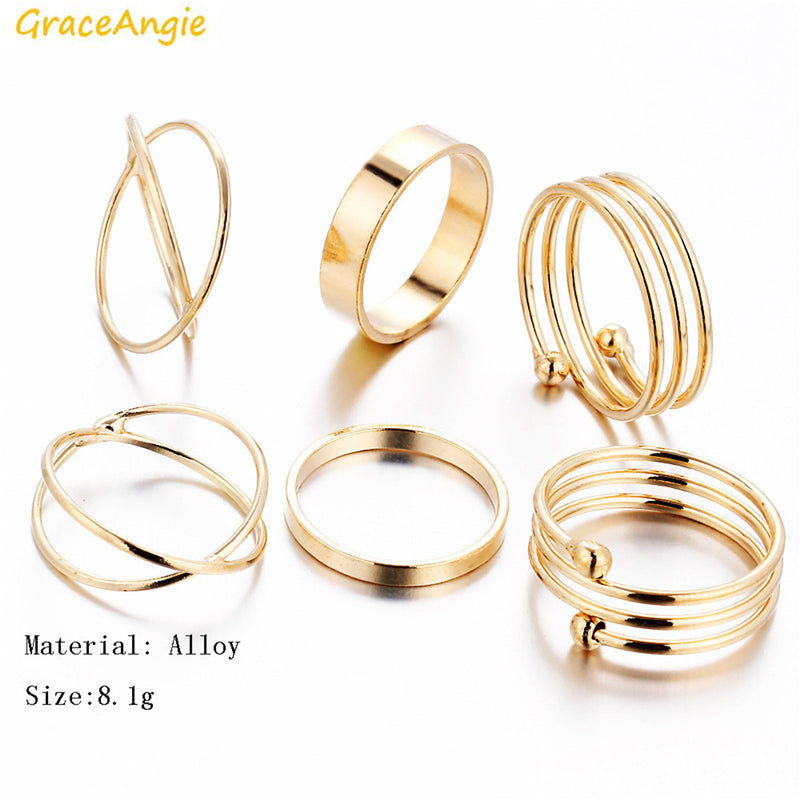 GraceAngie 6PCS/Set Gold Color Alloy Rings Trendy Stylish Jewelry Finger Tail Toe Ring Mix Shape Holiday Women Wearing