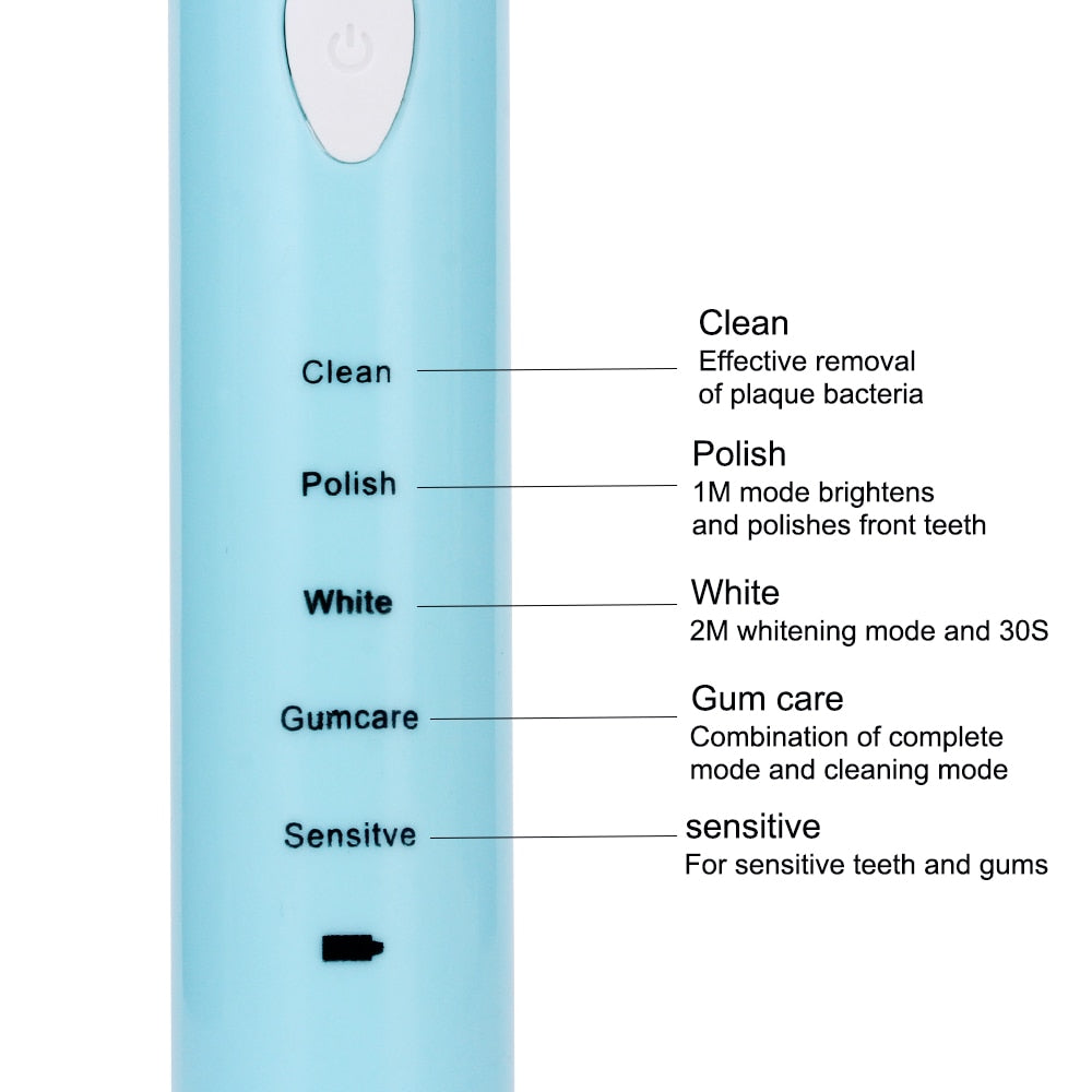 Sonic Electric 5 Mode Timer USB Rechargeable Toothbrush with FREE Four Replacement Heads