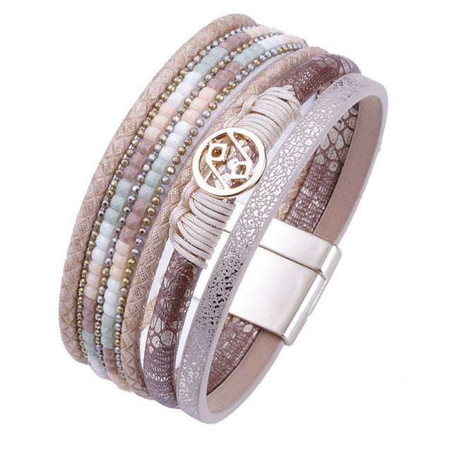 ALLYES Multilayer Leather Bracelet for Women Femme Rope Handmade Metal Charm Bohemian Female Wide Bracelets & Bangles Jewelry