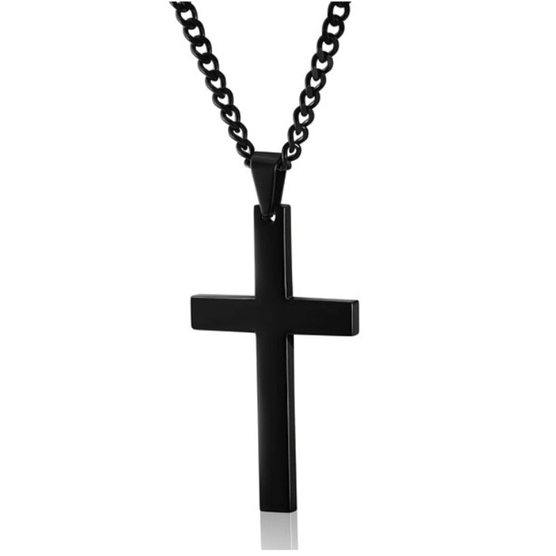 Male Black Cross Necklace Men
